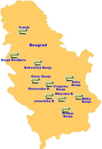 jezera u srbiji karta Banje jezera u srbiji karta