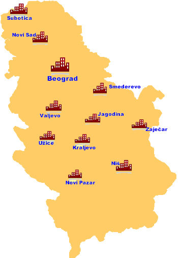 Serbian Cities - map