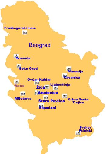 mapa srbije sa manastirima Manastiri i crkve mapa srbije sa manastirima