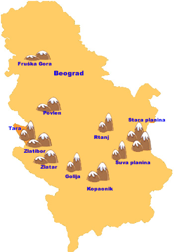 Serbian Mountains  - map