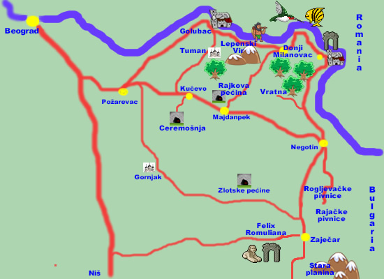 mapa srbije lepenski vir Istočna Srbija mapa srbije lepenski vir