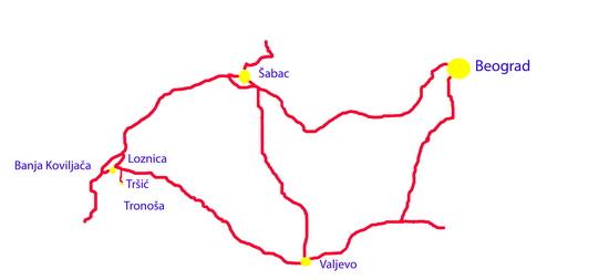 Zapadna Srbija Turisticka Karta