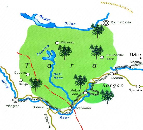 tara mapa srbije Planina Tara tara mapa srbije