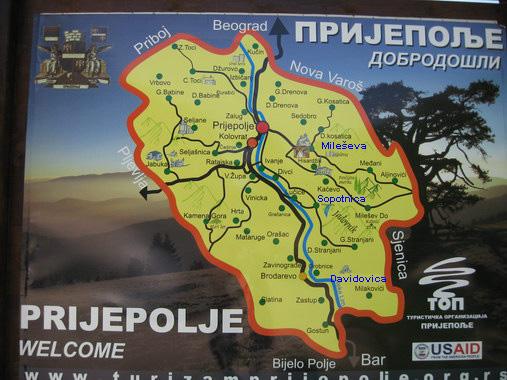 prijepolje mapa Manastir Mileševa prijepolje mapa
