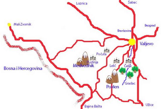 valjevo mapa srbije Valjevo   turistička karta valjevo mapa srbije