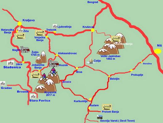 Vrnjacka Banja Turisticka Karta